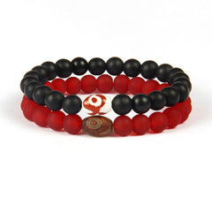Matte Glass Beaded Bracelet for Men and Women