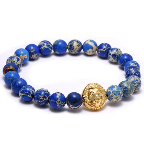 Blue Stone Gold Lion Head Bracelet for Men - BraceletsDR