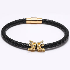 Double Crown Leather Braided Bracelet for Men - BraceletsDR