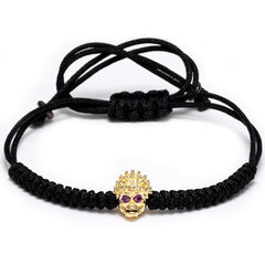 Vintage Alloy Braided Rope Skull Skeleton Bracelet for Men and Women - BraceletsDR