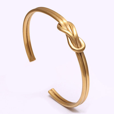 24K Gold Plated Simple Twist wire open cuff knot bracelet - REF0005 - BraceletsDR