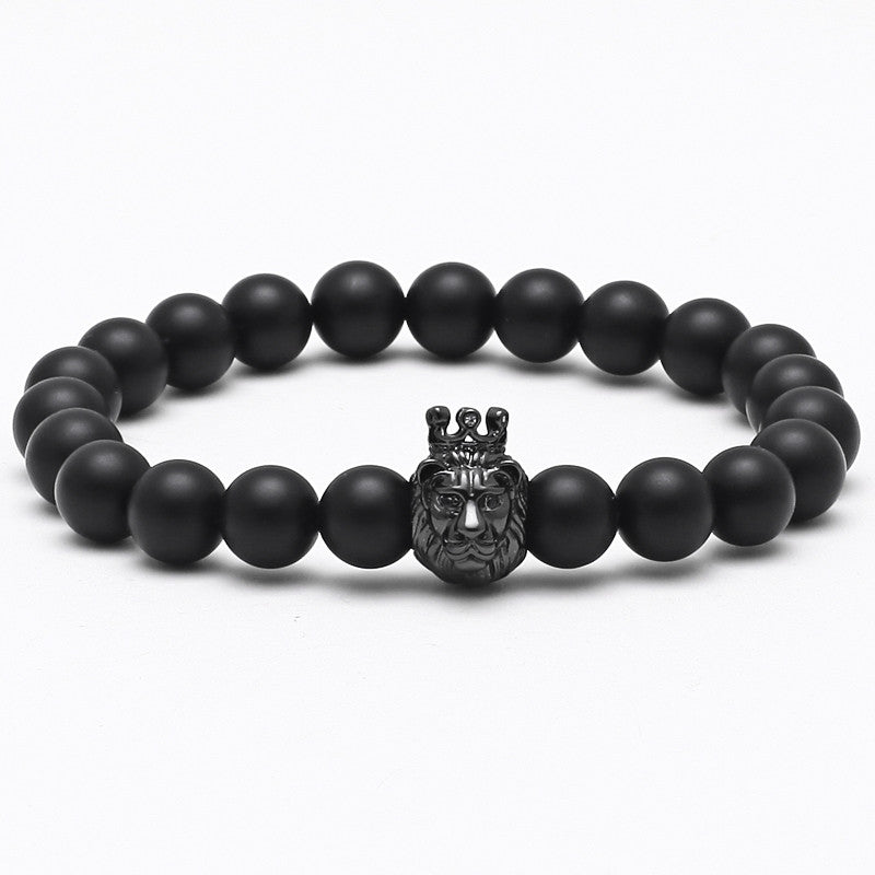 Lion Head Matte Stone Luxury Bracelet for Men