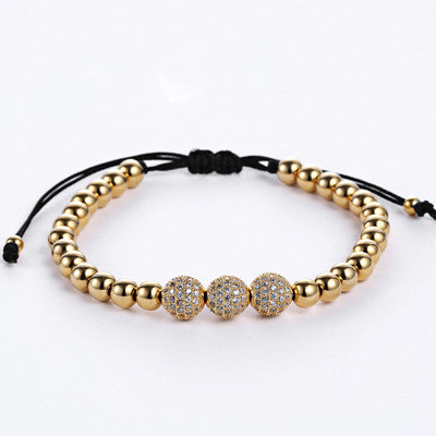 Three diamond 24K Gold Bead, Macrame Luxury Bracelet - REF0142 - BraceletsDR