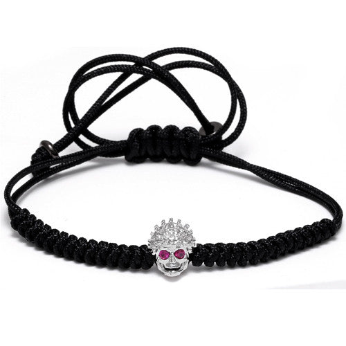 Women /Men Vintage Alloy Braided Rope Skull Skeleton Bracelet  - REF0155 - BraceletsDR