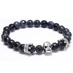 Natural Stones Skull Crown Bracelet for Men