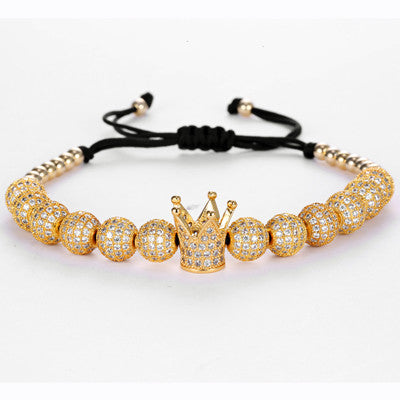 Gold Plated Crown Luxury Macrame Bracelet for Men - BraceletsDR