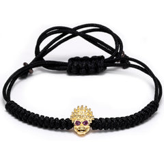 Vintage Alloy Braided Rope Skull Skeleton Bracelet for Men and Women