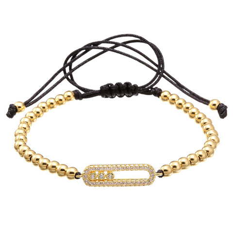 Round Gold Plated Macrame Bracelet for Men and Women - BraceletsDR