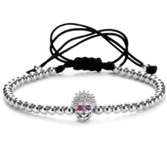 Skull Purple Eyes Skeleton Macrame Beaded Bracelet for Men - BraceletsDR