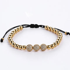Three Diamond 24K Gold Bead Macrame Bracelet for Men - BraceletsDR