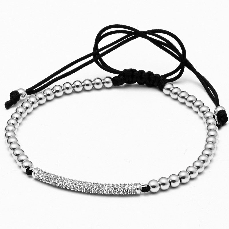 Micro Inlay Zircon Beaded Macrame Bracelet for Men - BraceletsDR