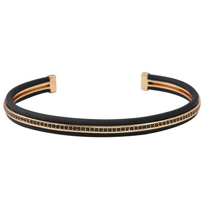 Black Rubber Luxury Bracelet for Men and Women - BraceletsDR