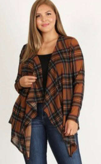 Curvy Plaid Cardigan