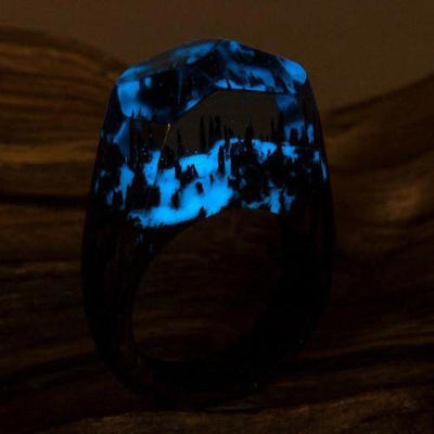 Snowy Forest Miniverse Ring (Handmade, Glow in the Dark)-The XYZ Shop