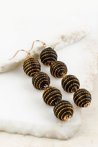 Black Ball Hook Earrings