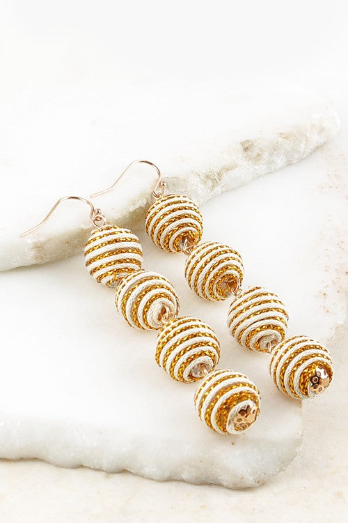 White Ball Hook Earrings