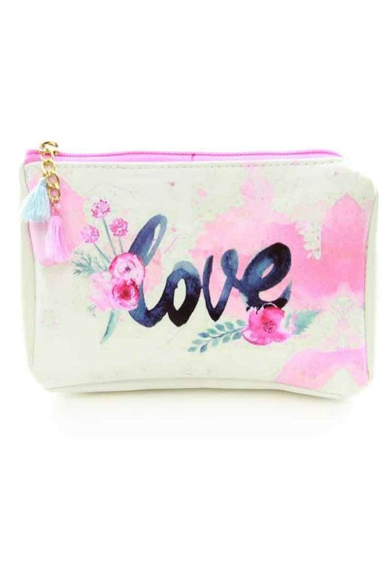 Vinyl Pink Love Flower Bag