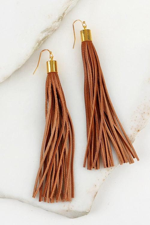 Brown Tassel Earrings