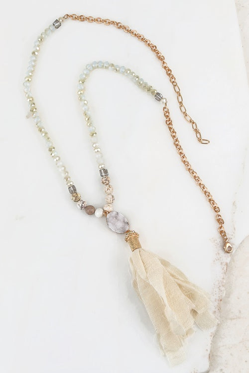 Natural Stone Long Necklace - Cream