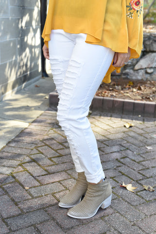 Cream Distressed Leggings