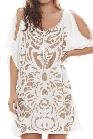 Matisse Dress: Bronze on White