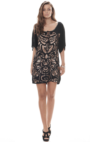Matisse Dress: Bronze on Black