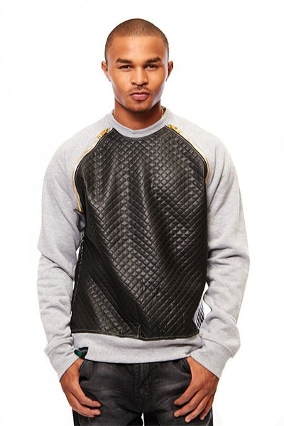 Switch Quilted Pu Raglan Crew Neck Top - Bred for Survival