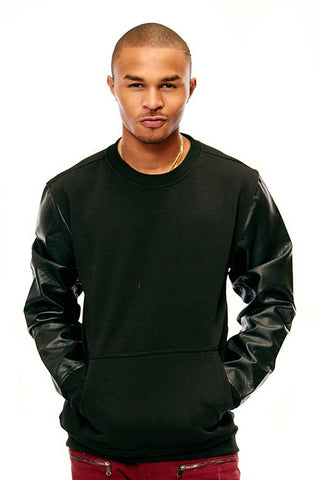 Fleece Crew Neck W/ Pu Trim - Plus Sizes - Bred for Survival