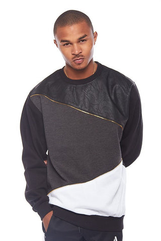 French Terry Zipper Color Block Crew Neck Sweater - Bred for Survival