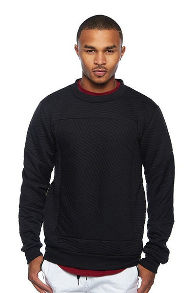 Stitched Wavy Quilted Crew Neck Top - Bred for Survival