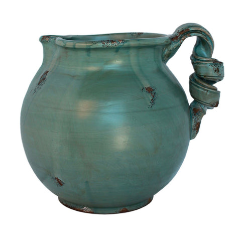 Blue Green Arno Water Pitcher with twisted Handle