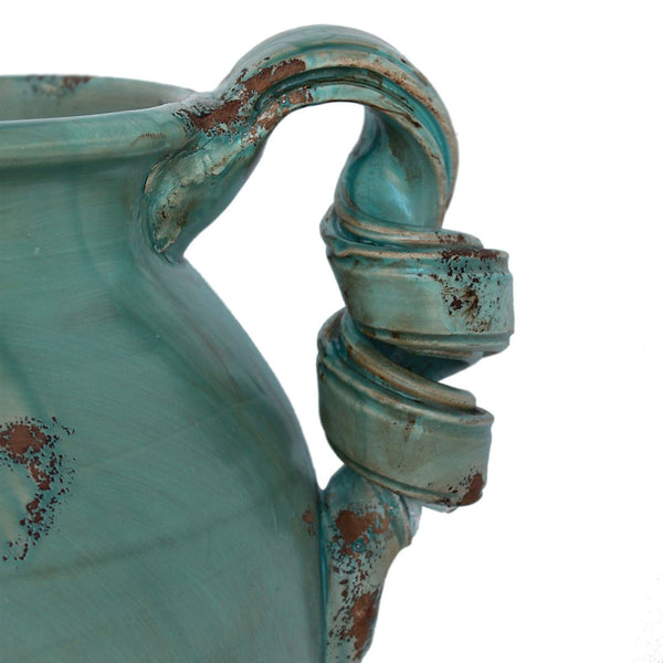Rustic Italian Hand Made Blue Ceramic Water Pitcher