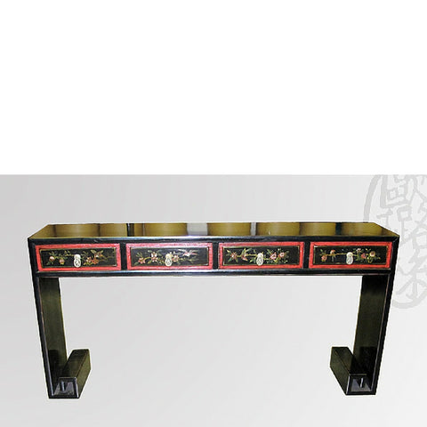 Black Lacquer altar Console Table with Drawers and Red Accents