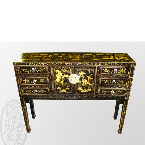 Gold and Black Ornate Decorated Chinese Reproduction Desk with Cabinet and Drawers