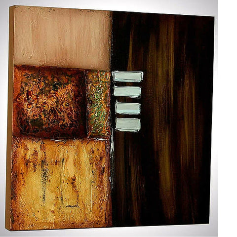 Brown Textured Acrylic on Canvas Thai Painting