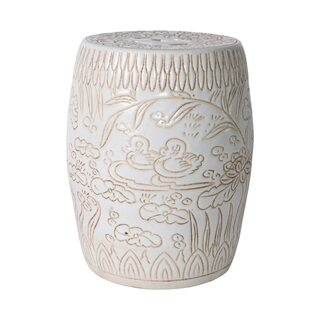 Matte White Carved Mandarin Duck Garden Stool