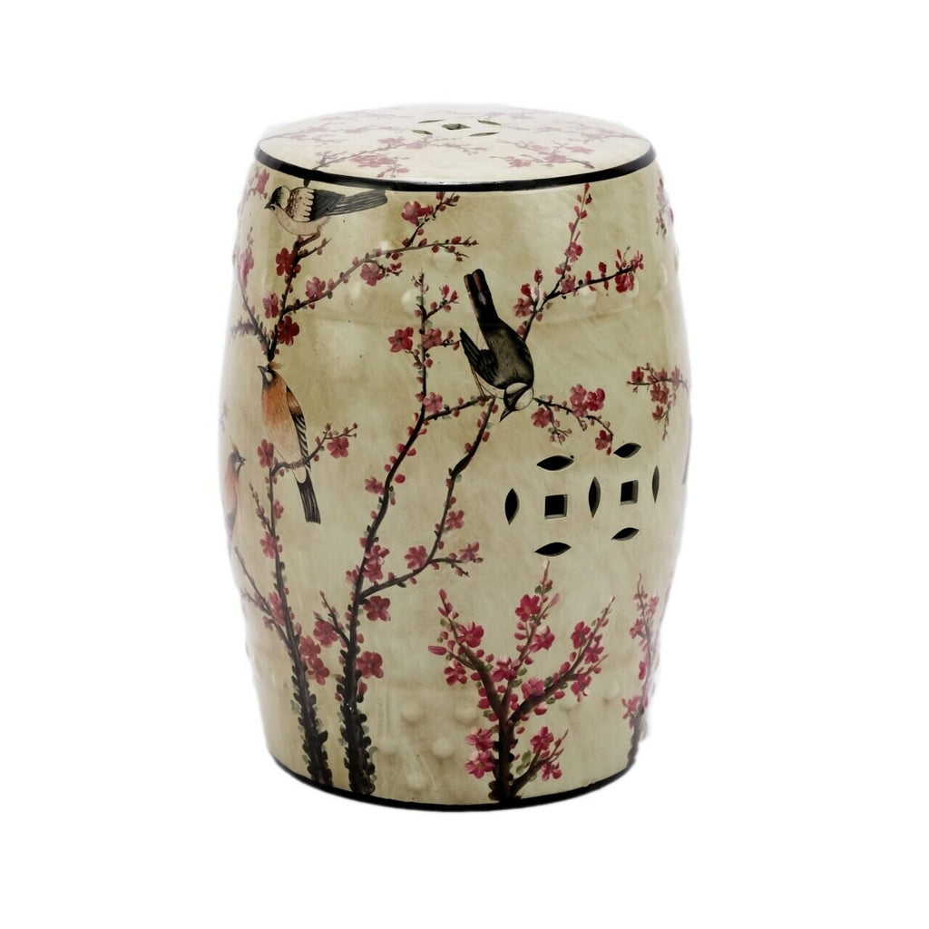 Beige Famille Rose Garden Stool with Magpie Cherry Motif