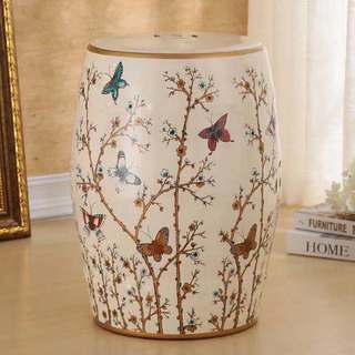 French Vanilla Butterfly Garden Stool