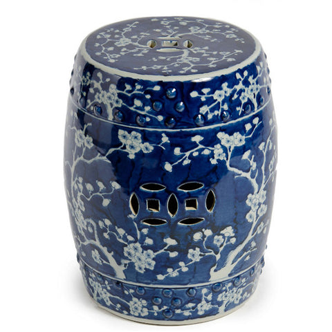 Chinese Deep Blue Ceramic Garden Stool With Plum Blossom Motif