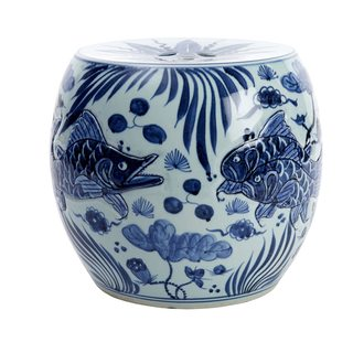 fish motif on blue and white garden stool