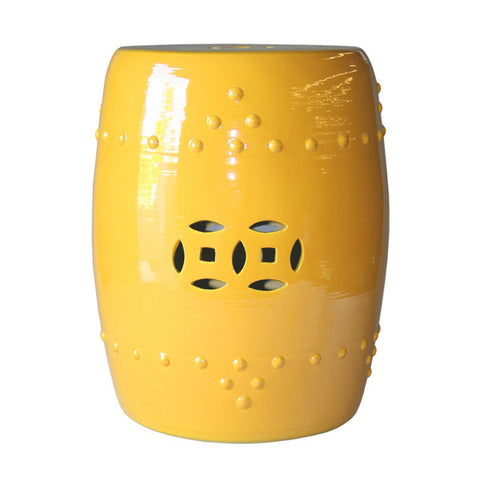 Sunshine Yellow Ceramic Chinese Garden Stool