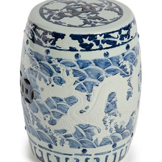 dragon motif on blue and white garden stool