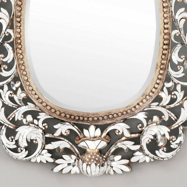 Thai Hand Made Ornate Shiny Mirror with Gold Accents