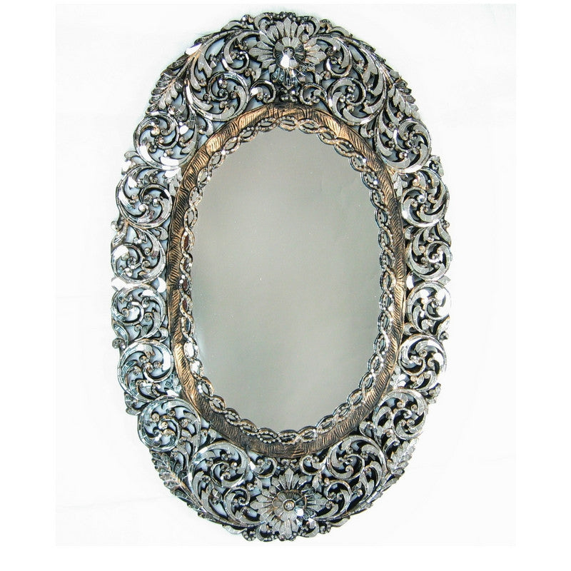Handcut Glass Oval Mirror