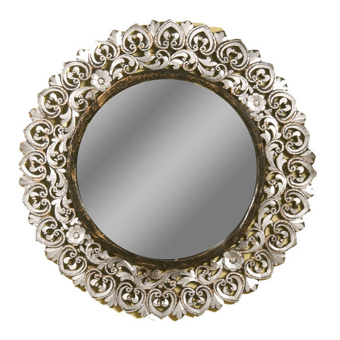 Large Round Handcut Glass Mirror Ornate
