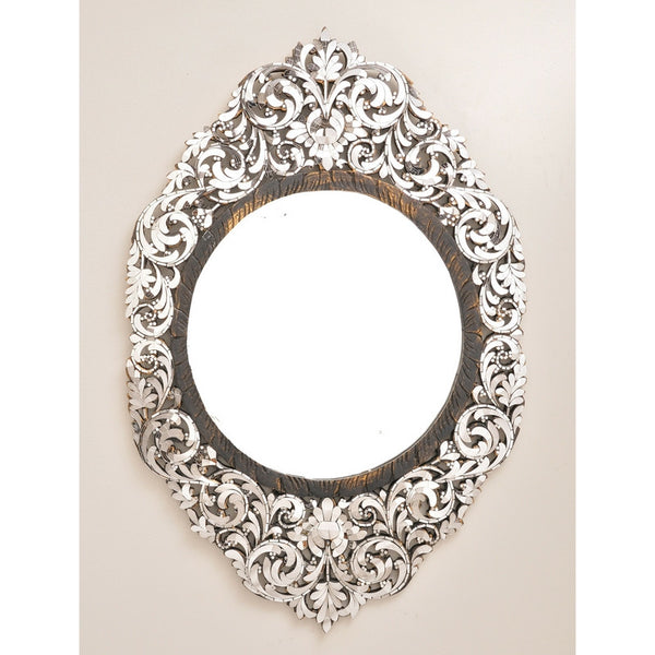 Tall Ornate Oblong Floral Framed Mirror