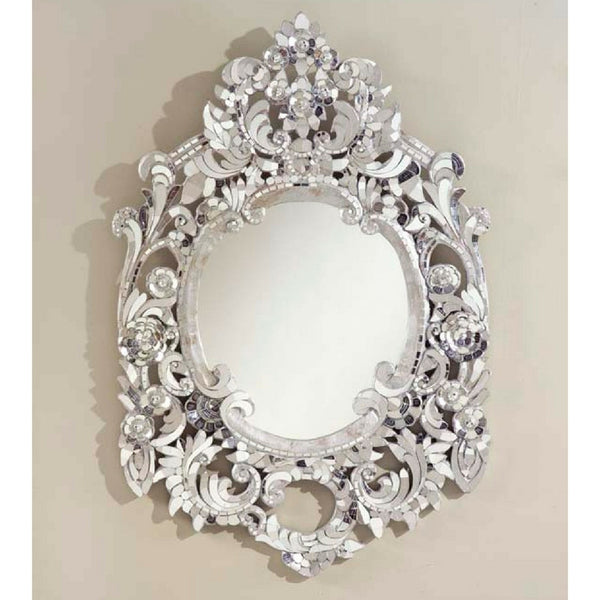 Silver Ornate Glass Handcut Mirror
