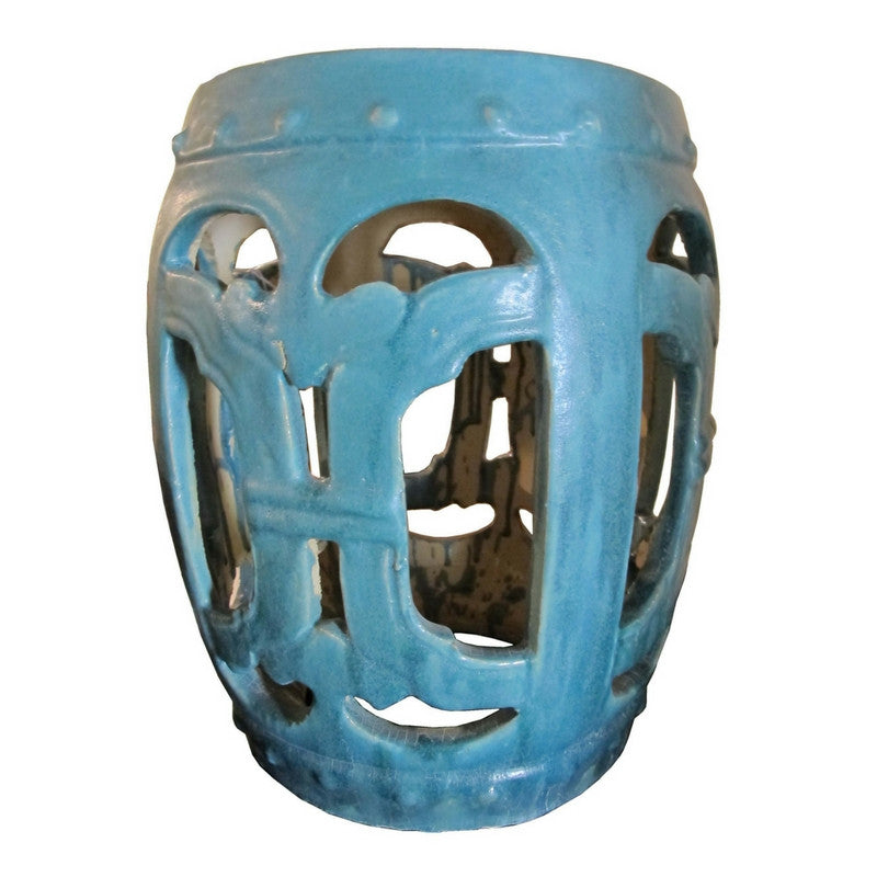 Light Blue Chinese Ru Yi Garden Stool