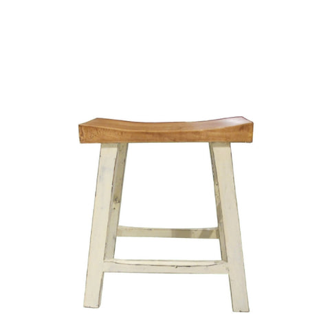 White Painted Legs on Small Short Stool with Comfortable Curved Natural Wood Tone Seat