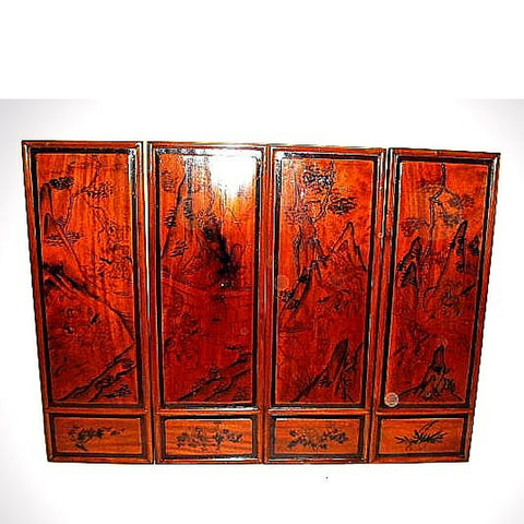 Chinese Antique Red Wood Painted Wall Panels